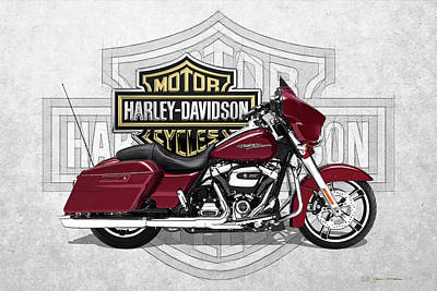 Poster featuring the digital art 2017 Harley-davidson Street Glide Special Motorcycle With 3d Badge Over Vintage Background  by Serge Averbukh