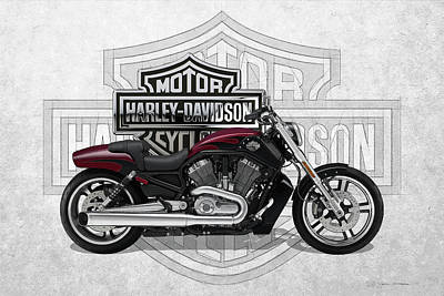 Poster featuring the digital art 2017 Harley-davidson V-rod Muscle Motorcycle With 3d Badge Over Vintage Background  by Serge Averbukh