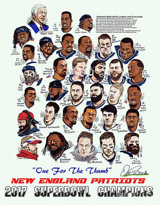 2017 New England Patriots Superbowl Champs Poster by Dave Olsen