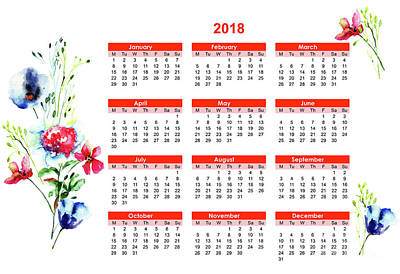 2018 Calendar With Stylized Flowers Poster
