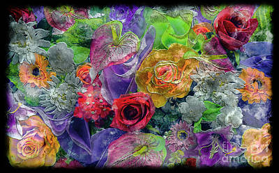 21a Abstract Floral Painting Digital Expressionism Poster
