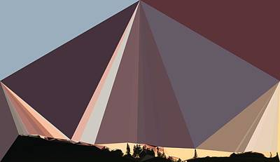 Abstract Art Landscape Of Triangles Poster by Elena Kosvincheva