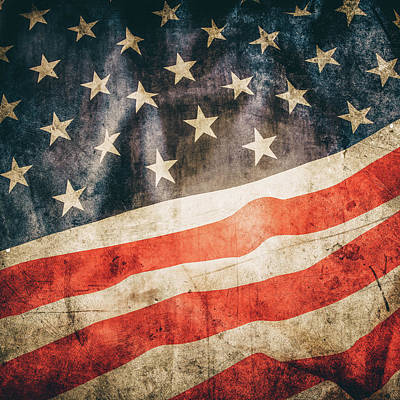 Poster featuring the photograph American Flag by Les Cunliffe
