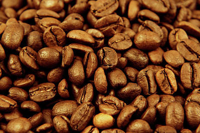 Poster featuring the photograph Coffee Beans by Les Cunliffe