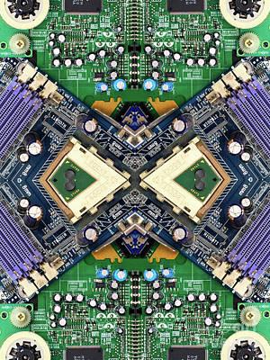 Computer Circuit Board Kaleidoscopic Design Poster