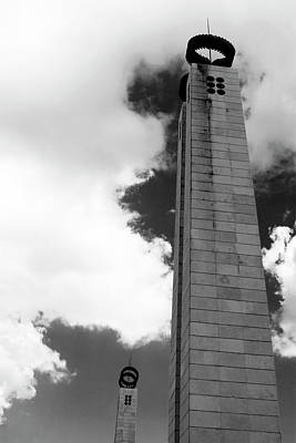 Poster featuring the photograph 25 De Abril Monument In Black And White by Lorraine Devon Wilke