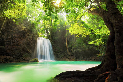 Erawan Waterfall  Poster by Anek Suwannaphoom