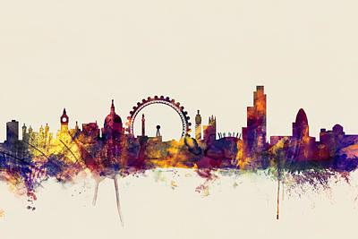 London England Skyline Poster by Michael Tompsett