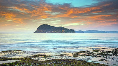 Sunrise Seascape With Clouds Poster