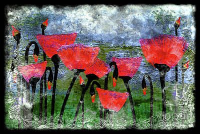 26a Abstract Floral Red Poppy Painting Poster