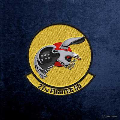 Poster featuring the digital art 27th Fighter Squadron - 27 Fs Over Blue Velvet by Serge Averbukh
