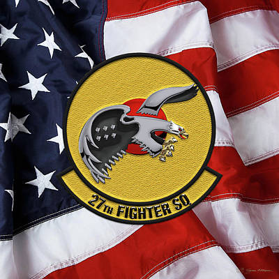 Poster featuring the digital art 27th Fighter Squadron - 27 Fs Patch Over American Flag by Serge Averbukh