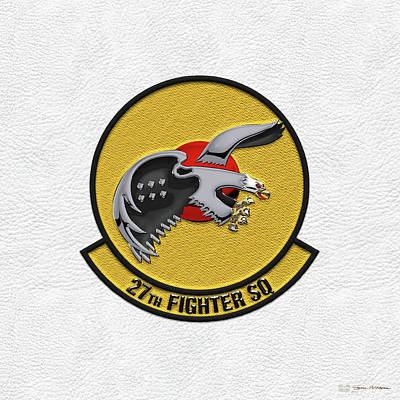 Poster featuring the digital art 27th Fighter Squadron - 27 Fs Patch Over White Leather by Serge Averbukh