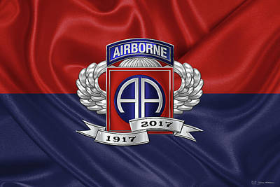 2nd Airborne Division 100th Anniversary Insignia Over Division Flag Poster by Serge Averbukh