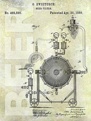 1889 Beer Filter Patent Poster