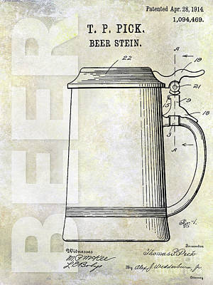 1914 Beer Stein Patent Poster