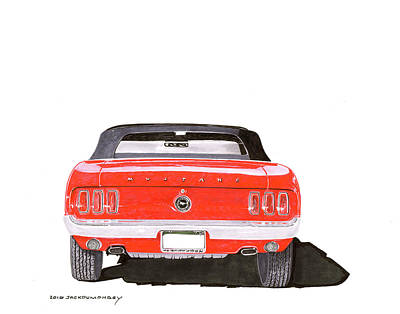 Poster featuring the painting 1969 Mustang Convertible by Jack Pumphrey