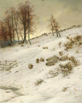A Flock Of Sheep In A Snowstorm Poster by Joseph Farquharson