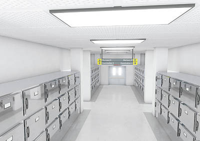 A Look Down The Aisle Of Fridges In A Clean White Ward In A Mortuary - 3d Render Poster