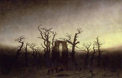 Abbey Among Oak Trees Poster by Caspar David Friedrich