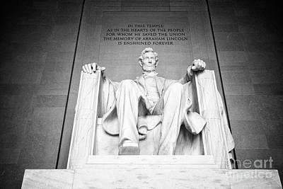 abraham lincoln statue inside the lincoln memorial Washington DC USA Poster