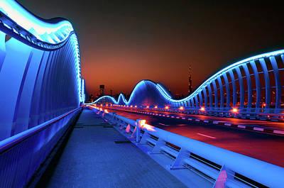 Amazing Night Dubai Vip Bridge With Beautiful Sunset. Private Ro Poster
