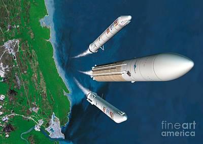 Ariane 5 Rocket Launch, Artwork Poster by David Ducros