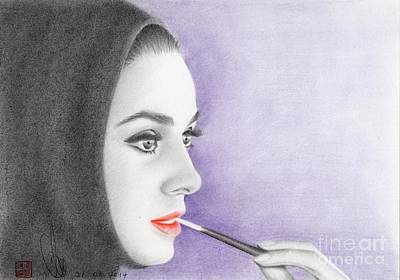 Poster featuring the drawing Audrey Hepburn by Eliza Lo