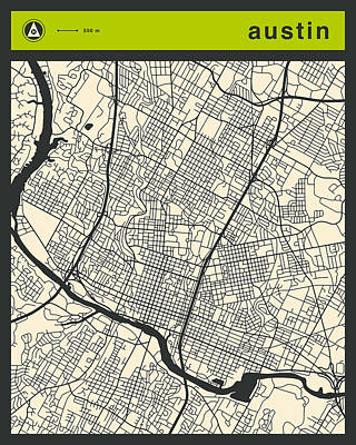 Austin Street Map Poster by Jazzberry Blue