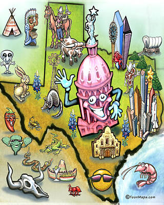 Austin Texas Cartoon Map Poster by Kevin Middleton
