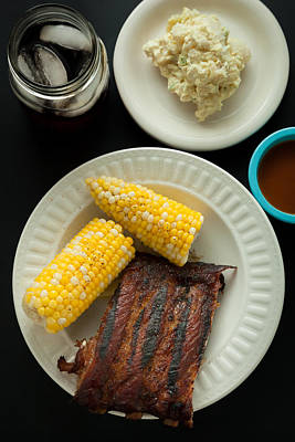 Barbecue Pork Spare Ribs With Corn And Potato Salad Poster