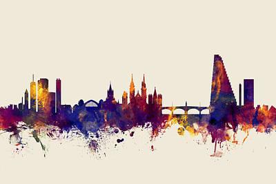 Basel Switzerland Skyline Poster by Michael Tompsett
