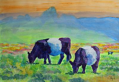 Belted Galloway Cows Poster by Mike Jory