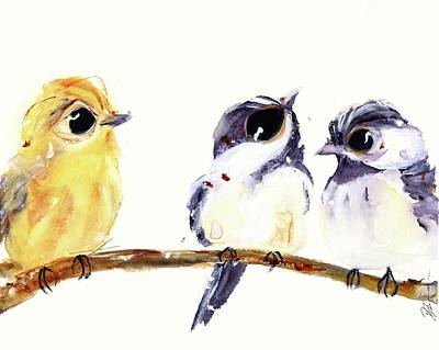 Poster featuring the painting 3 Birds On A Branch by Dawn Derman