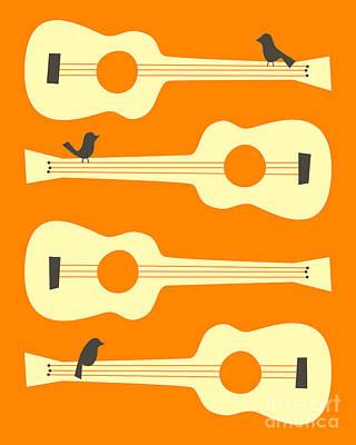 Birds On Guitar Strings Poster