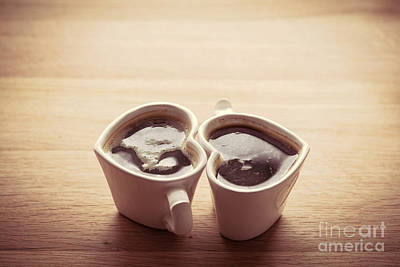 Black Coffee, Espresso In Two Heart Shaped Cups.. Love, Valentine's Day, Vintage Poster