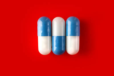 3 Blue And White Pills Poster