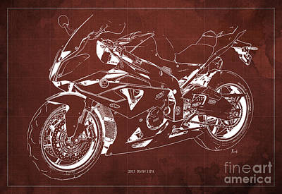 Bmw Hp4 2013 Blueprint Motorcycle, White Line, Vintage Background Poster by Pablo Franchi
