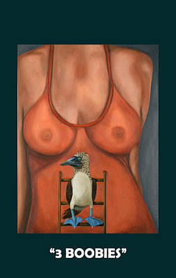 3 Boobies With Lettering Poster by Leah Saulnier The Painting Maniac