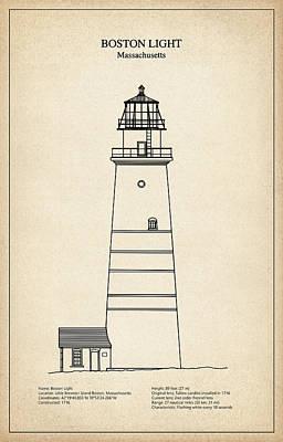 Boston Light Lighthouse - Massachusetts - Blueprint Drawing Poster