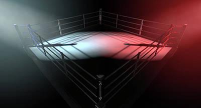 Boxing Ring Opposing Corners Poster by Allan Swart