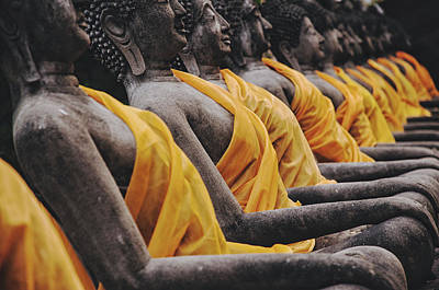 Carved Stone Buddha Statue Wat Temple Complex In Old Siam Kingdom Ayutthaya Thailand Poster