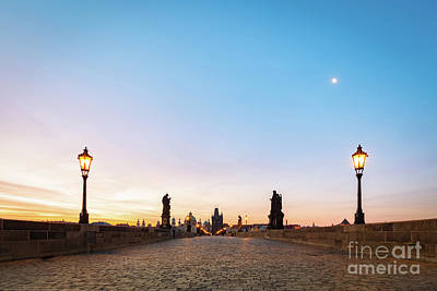 Charles Bridge At Sunrise, Prague, Czech Republic. Dramatic Statues And Medieval Towers. Poster by Michal Bednarek