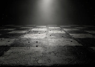 Chessboard Dark Poster by Allan Swart