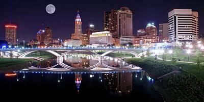 Columbus Ohio Full Moon Pano Poster