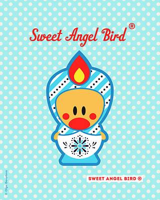 Cute Art - Blue Polka Dot Snowflake Folk Art Sweet Angel Bird In A Nesting Doll Costume Wall Art Print Poster