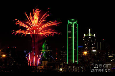 Dallas Texas - Fireworks Poster by Anthony Totah