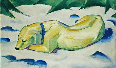 Dog Lying In The Snow Poster by Franz Marc
