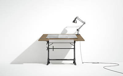 Drafting Desk Lamp And Paper Poster