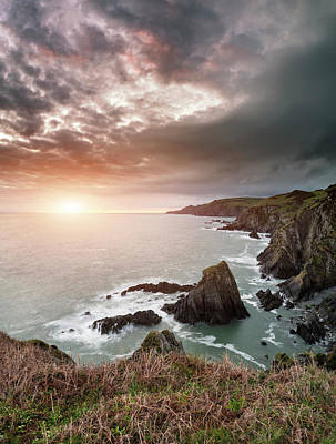 Dramatic Stormy Sunrise Landscape Over Bull Point In Devon Engla Poster